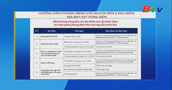 Hướng dẫn phòng bệnh với người đến 6 địa điểm mà bệnh nhân BN1347 từng đến