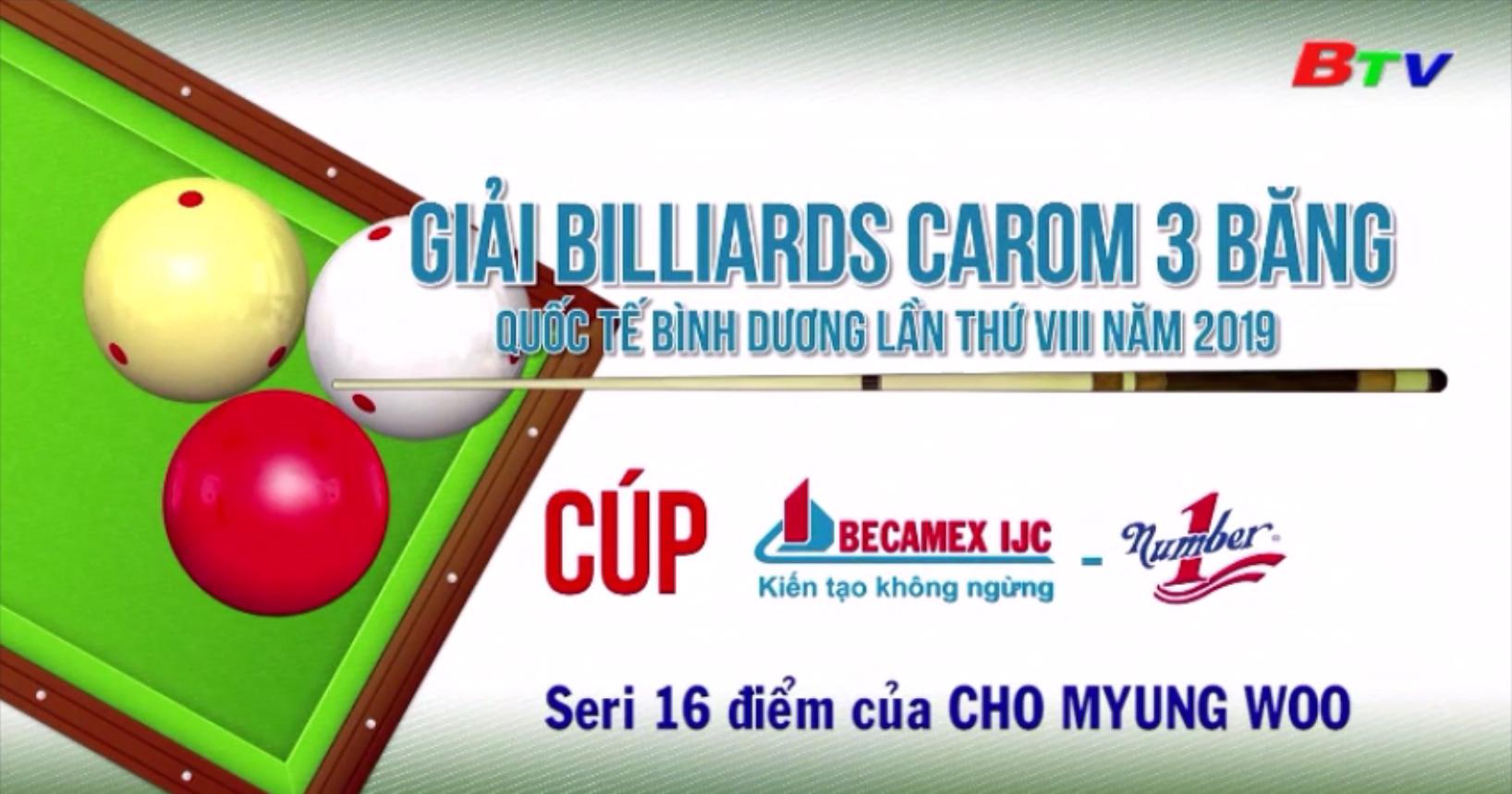 Seri 16 điểm của Cho Myung Woo tại Giải Billiards Carom 3 băng QTBD 2019