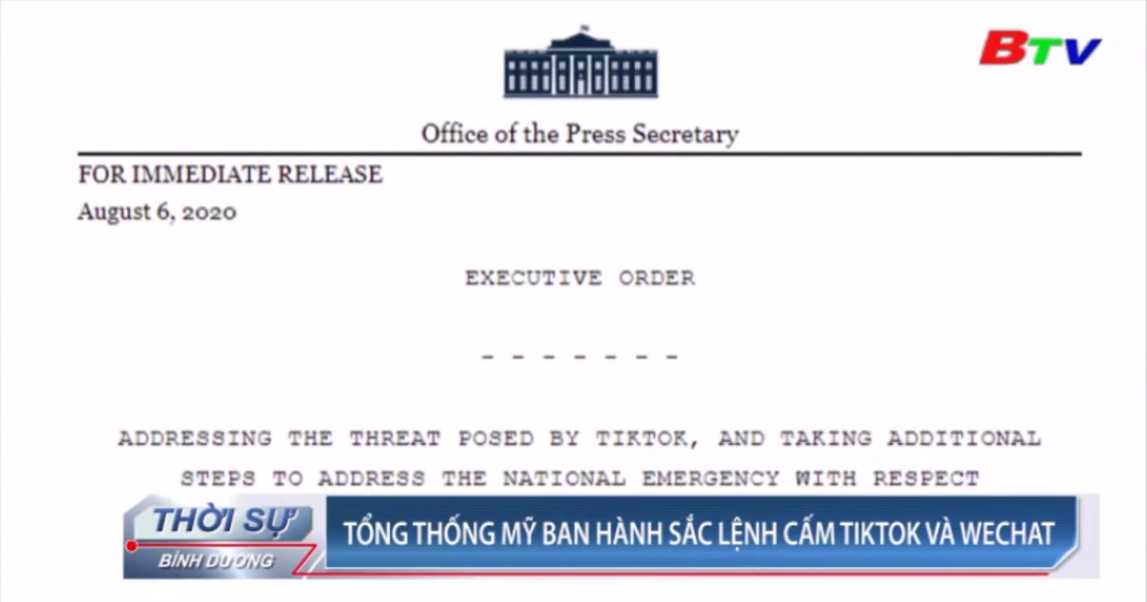 Tổng thống Mỹ ban hành sắc lệnh cấm TikTok và Webchat