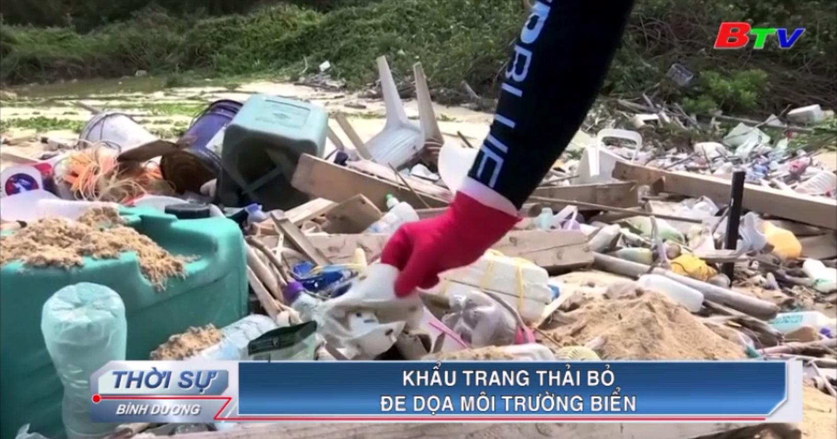 Khẩu trang thải bỏ đe dọa môi trường biển