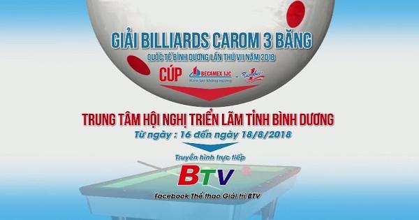 Lịch thi đấu Giải Billiards Carom 3 băng Quốc tế Bình Dương lần VII/2018 - Cúp