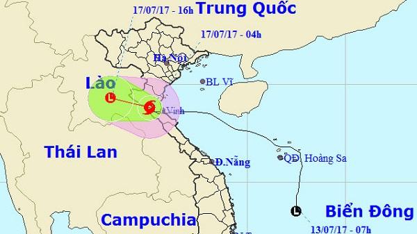 Bão số 2 suy yếu dần thành áp thấp nhiệt đới
