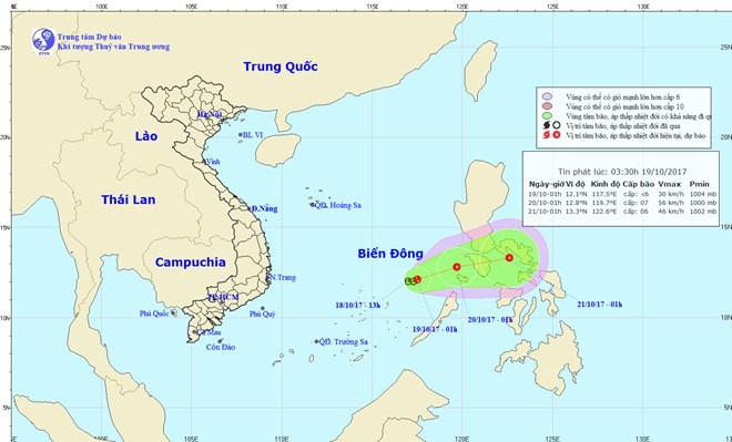 Vùng áp thấp khả năng mạnh lên thành áp thấp nhiệt đới