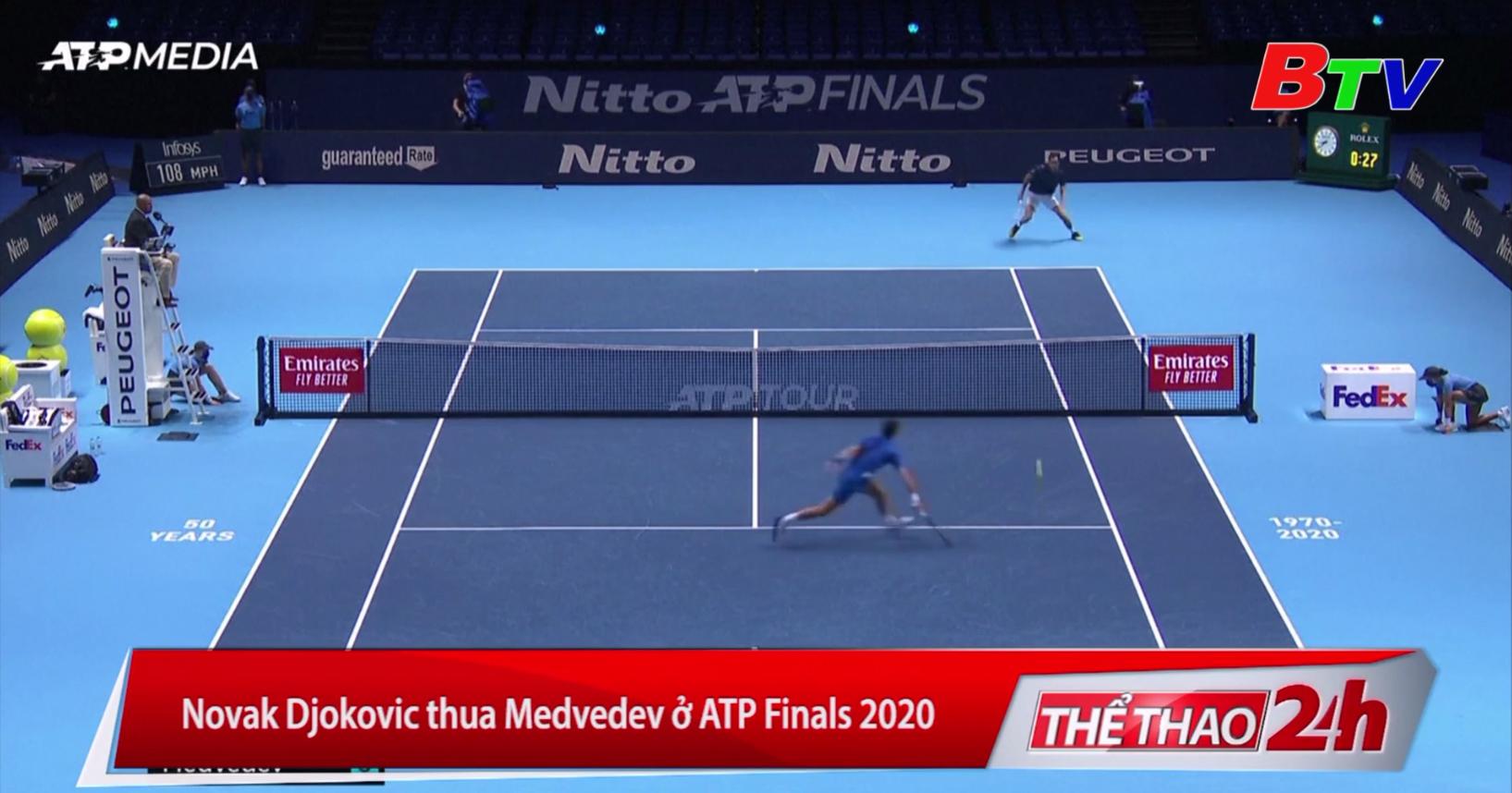 Novak Djokovic thua Medvedev ở ATP Finals 2020