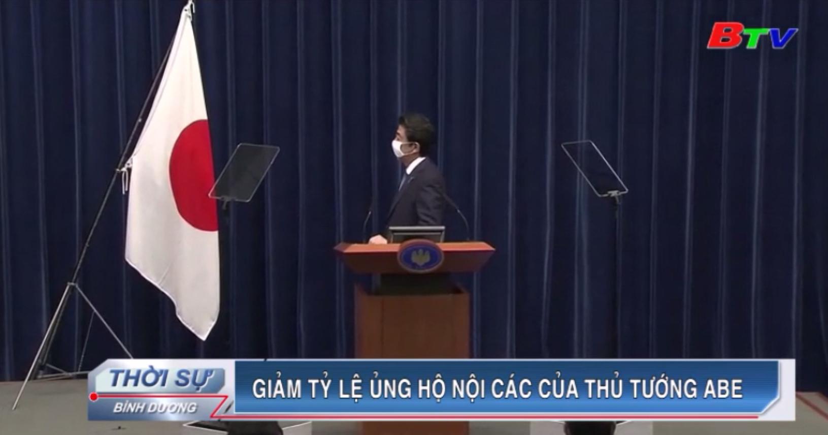 Giảm tỷ lệ ủng hộ nội các của Thủ tướng Abe