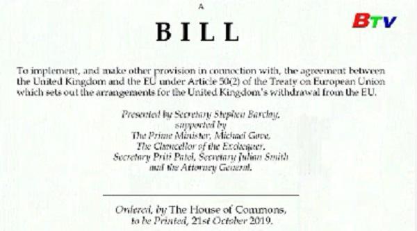 Chính phủ Anh trình Quốc hội dự luật mới về Brexit