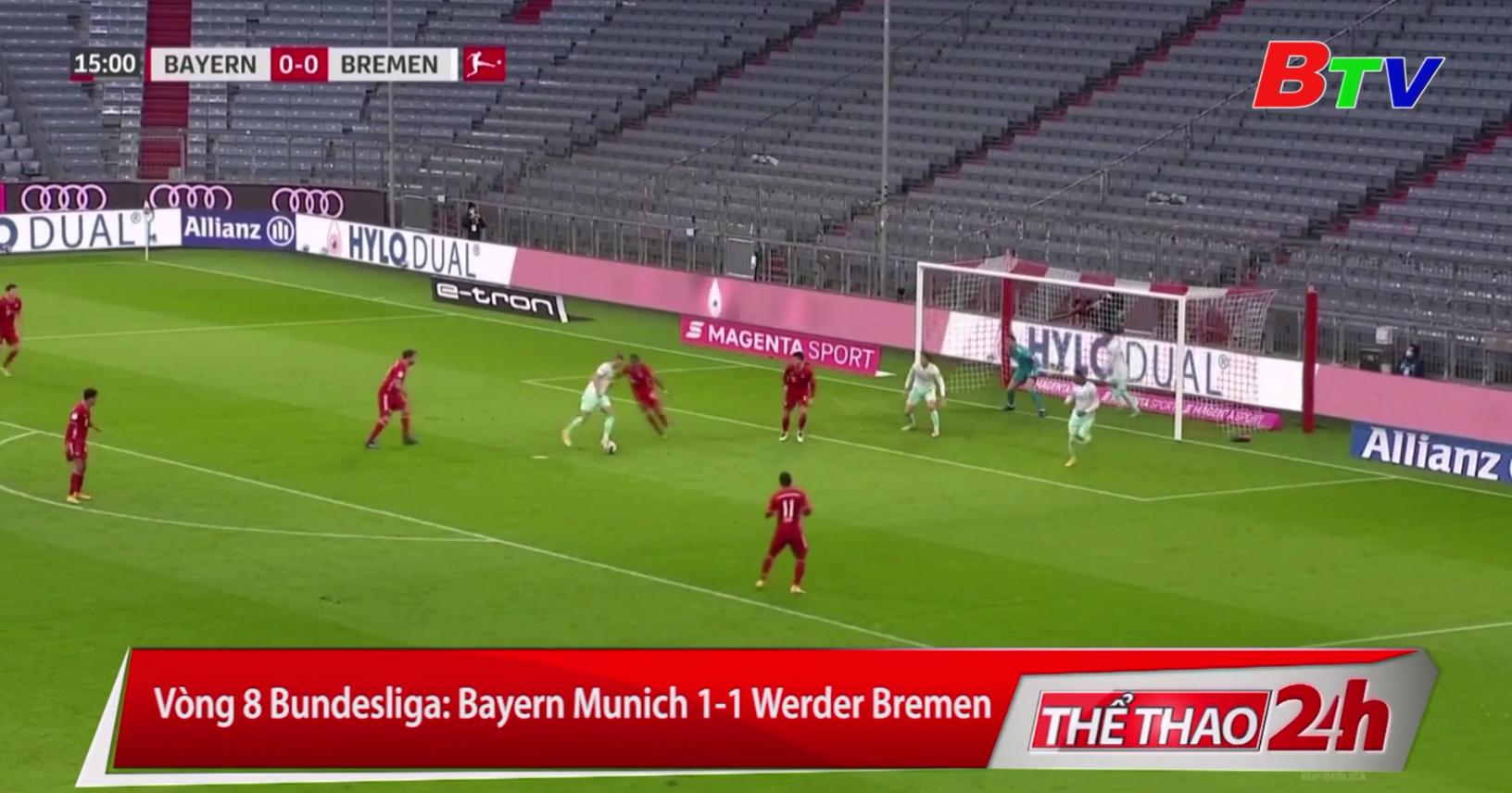Vòng 8 Bundesliga – Bayern Munich 1-1 Werder Bremen