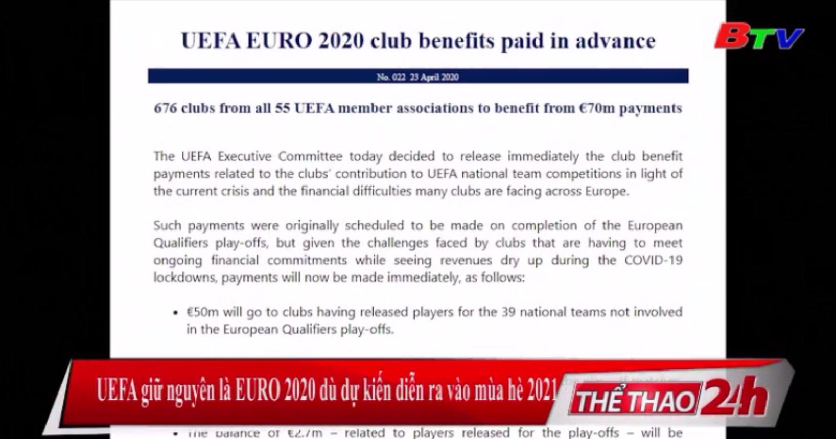 UEFA giữ nguyên là EURO 2020 dù dự kiến diễn ra vào mùa Hè 2021