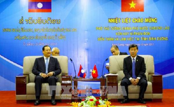Phó Thủ tướng Lào Sonexay Siphandone thăm và làm việc tại Bình Dương