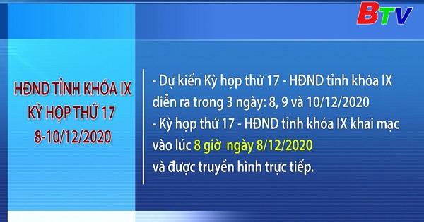 Kỳ họp thứ 17 HĐND tỉnh Khóa IX diễn ra trong 3 ngày từ 8 - 10/12/2020