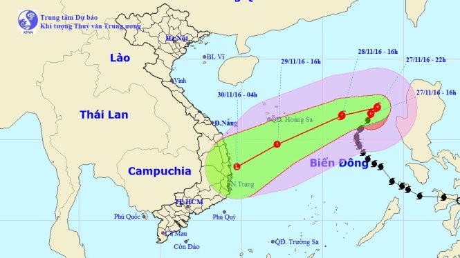 Bão số 9 sẽ suy yếu thành áp thấp nhiệt đới