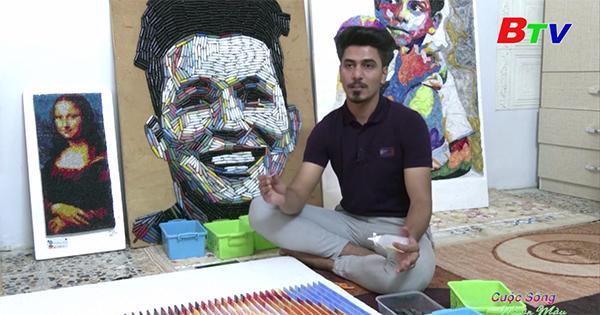 Nghệ sĩ Iraq sáng tác chân dung từ rác thải