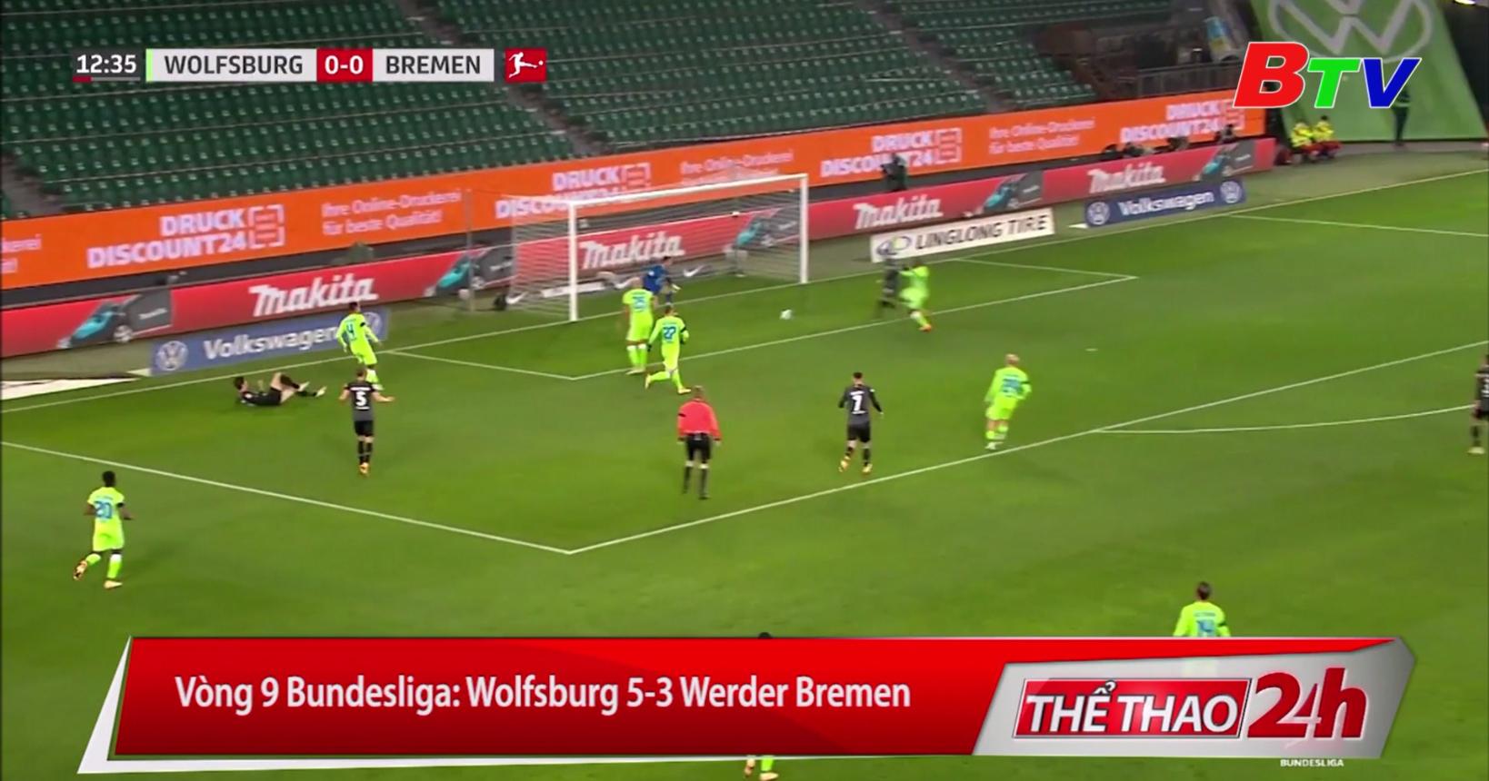 Vòng 9 Bundesliga – Wolfsburg 5-3 Werder Bremen