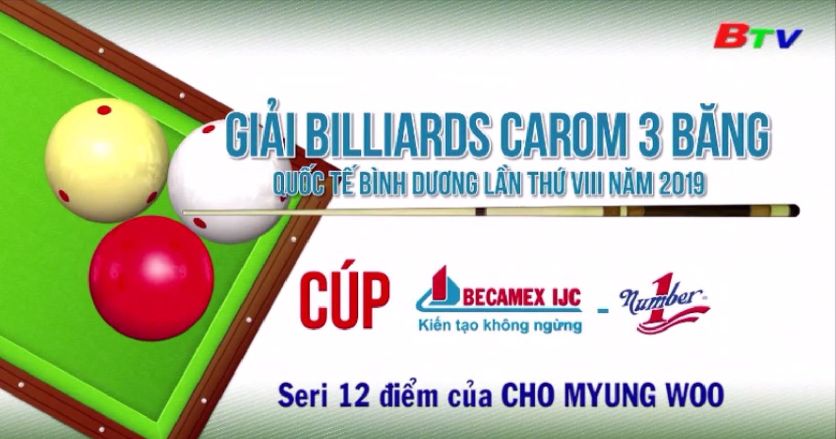 Seri 12 điểm của Cho Myung Woo tại Giải Billiards Carom 3 băng QTBD 2019