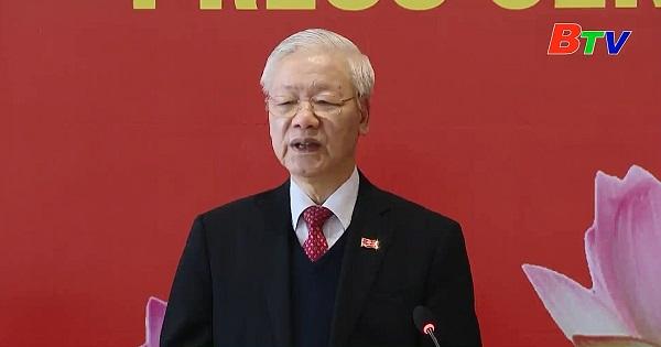 Tổng Bí thư, Chủ tịch nước Nguyễn Phú Trọng tham dự họp báo sau bế mạc Đại hội Đảng lần thứ XIII