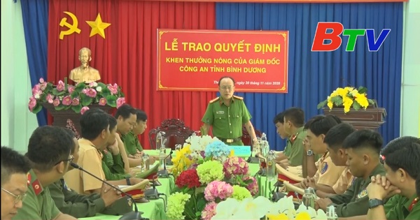 Công an tỉnh Bình Dương tổ chức khen thưởng đột xuất