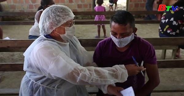 Brazil - Nhân viên y tế xét nghiệm covid cho cộng đồng người sống trong rừng rậm Amazon