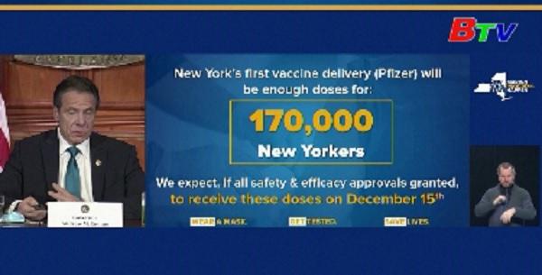 Bang New York tiêm vaccine đợt đầu cho 170000 người kể từ ngày 15/12