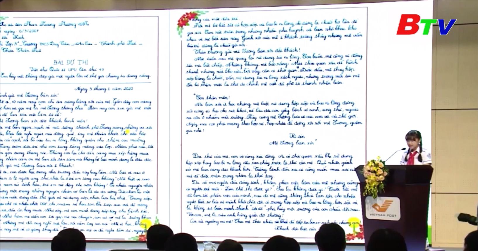 Học sinh Phan Hoàng Phương Nhi (Thừa Thiên - Huế) đạt giải Ba quốc tế thi viết thư UPU lần thứ 49
