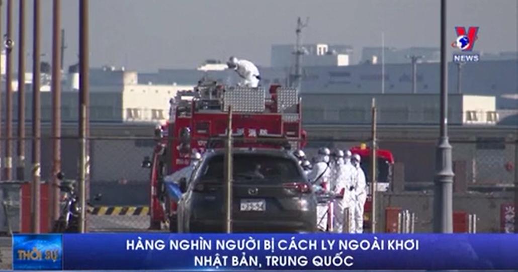 Hàng nghìn người bị cách ly ngoài khơi Nhật Bản, Trung Quốc
