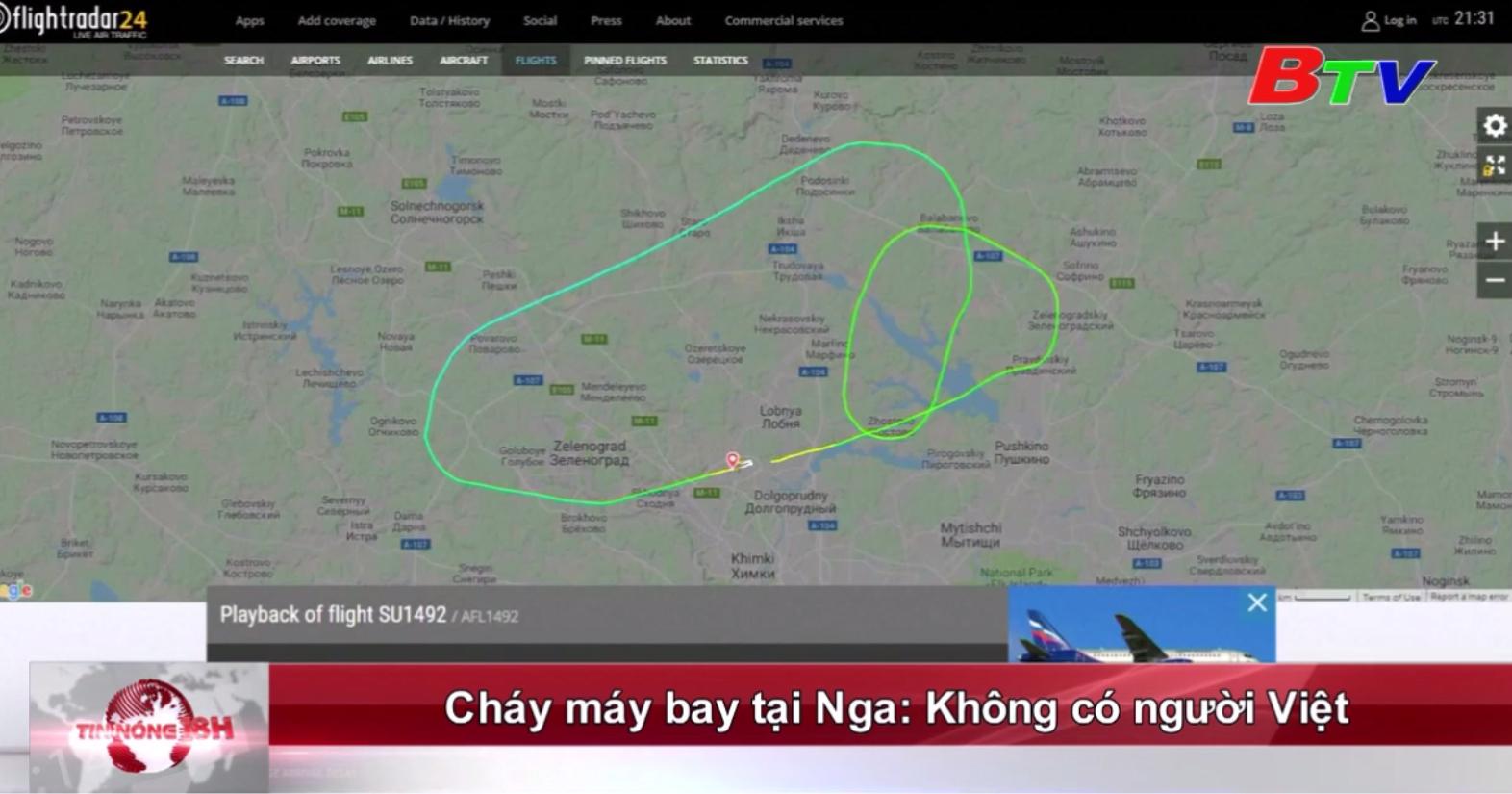 Cháy máy bay tại Nga: Không có người Việt