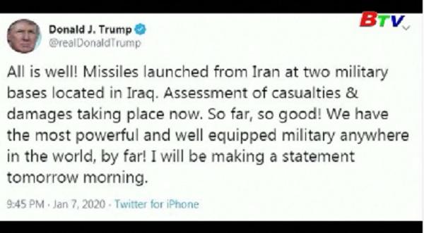 Iran phóng tên lửa nhằm vào 2 cơ sở của Mỹ tại Iraq