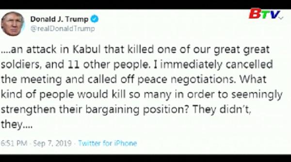 Mỹ hủy đàm phán với Taliban