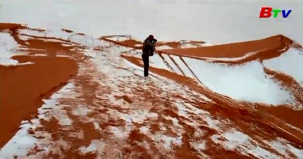 Độc đáo cảnh tuyết phủ sa mạc Sahara