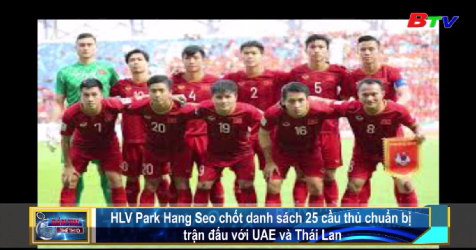 HLV Park Hang-seo chốt danh sách 25 cầu thủ chuẩn bị trận đấu với UAE và Thái Lan