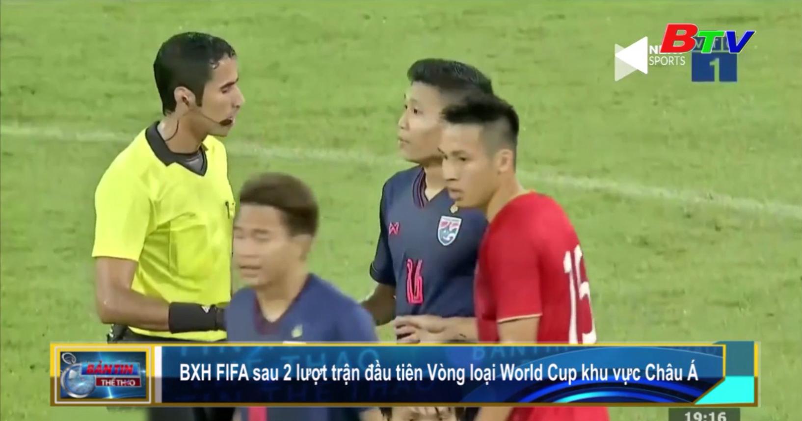 Bảng xếp hạng FIFA sau 2 lượt trận đầu tiên Vòng loại World Cup 2022 khu vực châu Á