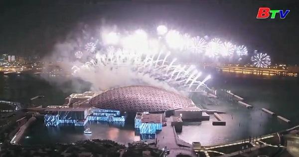 Abu Dhabi bắn pháo hoa mừng khánh thành bảo tàng Louvre