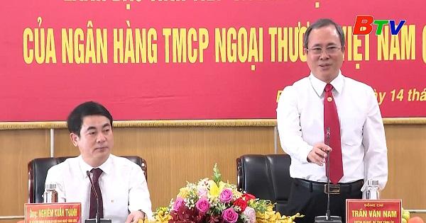 Bí thư Tỉnh ủy tiếp đoàn công tác ngân hàng Vietcombank