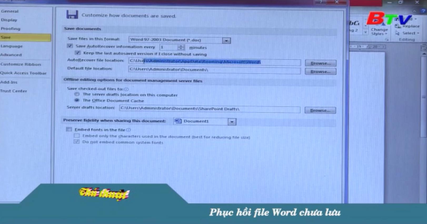 Phục hồi file Word chưa lưu