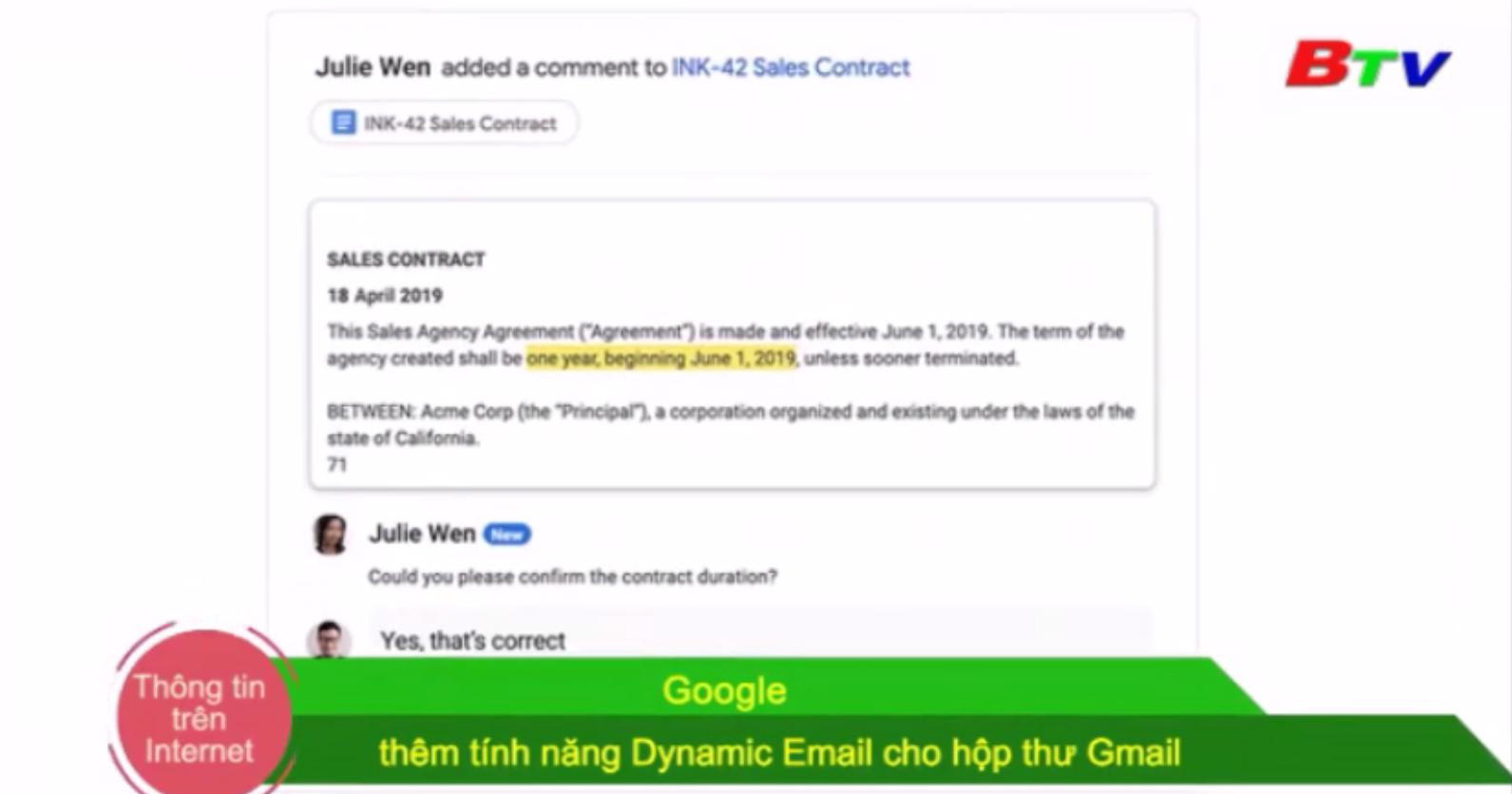 Google thêm tính năng Dynamic Email cho hộp thư Gmail