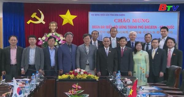 Lãnh đạo Hội đồng Nhân dân tỉnh Bình Dương  tiếp đoàn đại biểu Hội đồng Thánh phố DEAJEON - Hàn Quóc