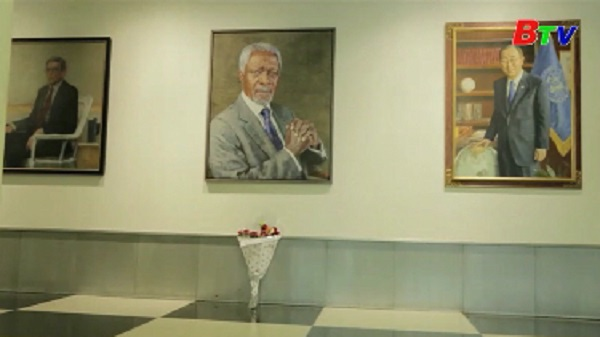 Trụ sở Liên hợp quốc tại Geneva treo cờ rủ để tưởng nhớ ông Kofi Annan