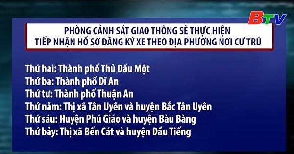 Phòng cảnh sát giao thông, công an tỉnh Bình Dương tiếp nhận hồ sơ đăng ký xe