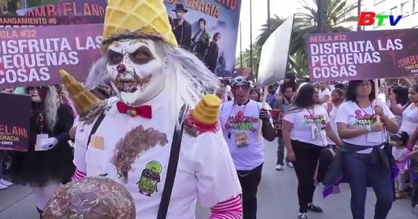 Đáng sợ cuộc diễu hành thây ma tại Mexico
