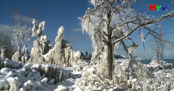 Ngắm công viên băng tuyết ở hồ Michigan