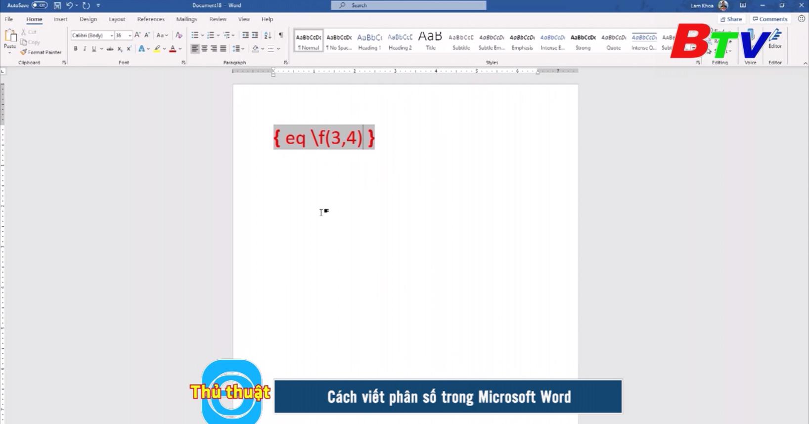 Cách viết phân số trong Microsoft Word