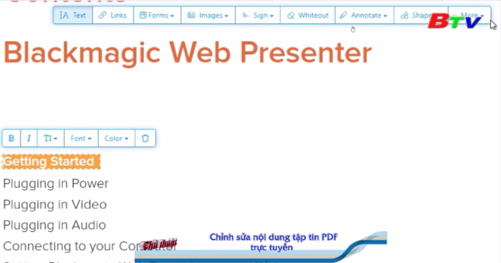 Chỉnh sửa nội dung tập tin PDF trực tuyến