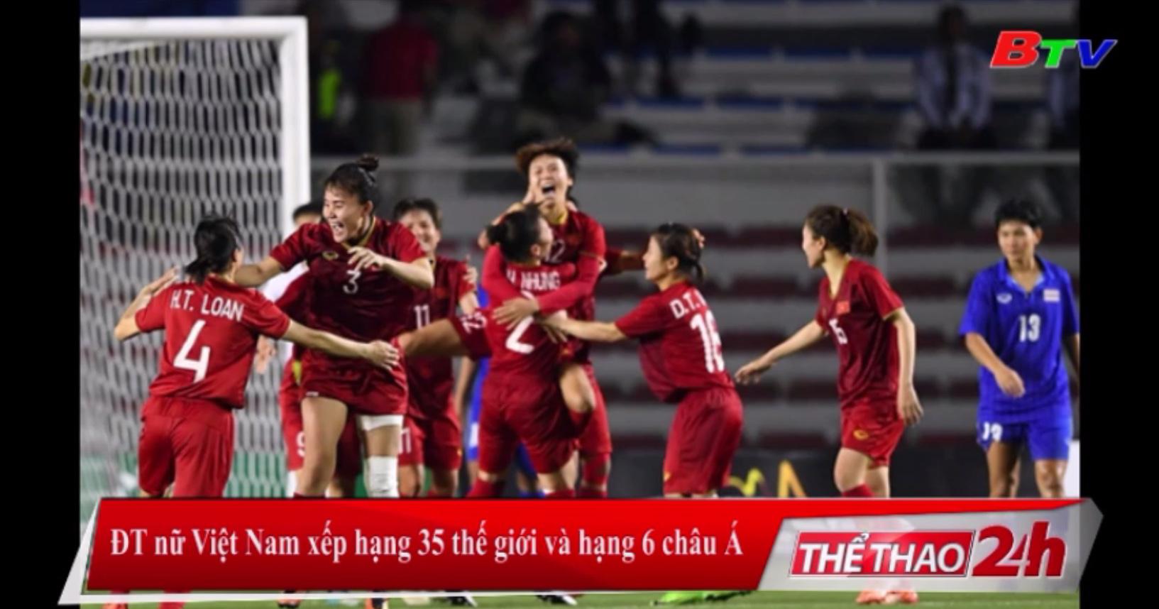 ĐT nữ Việt Nam xếp hạng 35 thế giới và hạng 6 châu Á