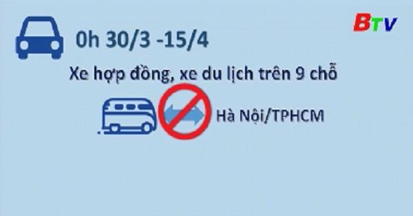 Dừng toàn bộ xe hợp đồng trên 9 chỗ đến và đi Hà Nội và Thành phố Hồ Chí Minh